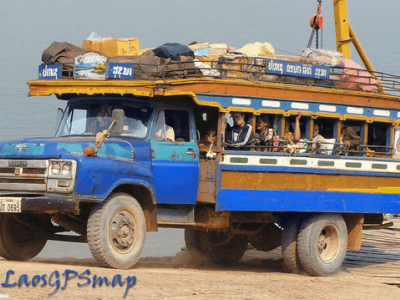 Jump on a sawng taews and Buses travel around Sayabouly Province